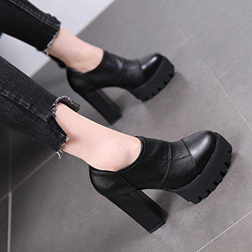 MDRW-11Cm Wasserdicht Hochhackige Stiefel Mit Weiblichen Neuer Neuer Weiblichen Stil Elastische Kurze Stiefel Im Herbst Um Kopf Und Hochhackigen Schuhen High Heelsschwarz 8b30d5