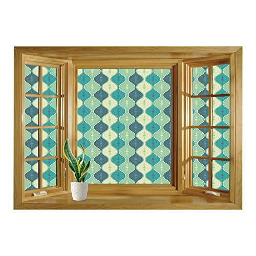 - SCOCICI Removable 3D Windows Frame Wall Mural Stickers/Geometric,Retro Pattern Dotted Design Oval Abstract Shapes Symmetrical,Pale Green Teal Cadet Blue/Wall Sticker Mural
