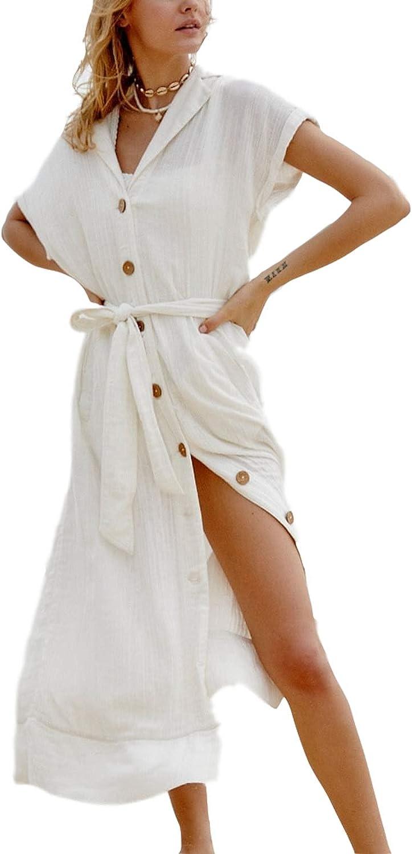 Swimsuit Cover ups Womens Button Down Cotton Linen Beach Shirt Short Sleeve Collar Neck Kimono Cardigan with Belt (8392 White)