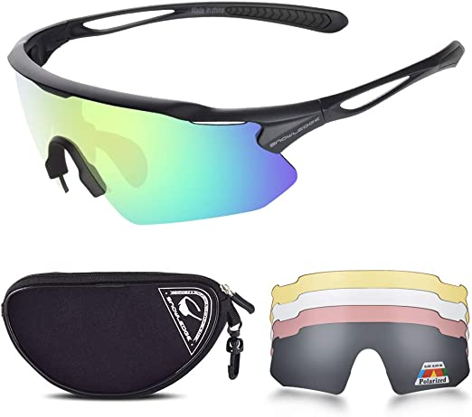 Man Cycling Glasses Black Polarized Goggles 4 Lens Sunglasses Outdoor Sports New