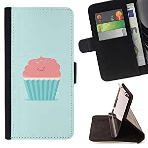 CUTE PINK & BLUE CUPCAKE - Painting Art Smile Face Style Design PU Leather Flip Stand Case Cover FOR Sony Xperia Z1 Compact D5503 @ The Smurfs