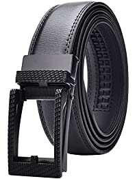 Men's Leather Ratchet Dress Belt with Automatic Buckle 30mm Wide Black (Hollow Black Textured Buckle)