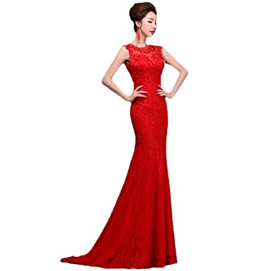 ba8d7c564 Amazon.com  vimans Women s 2016 Red Scoop Lace Evening Party Long ...