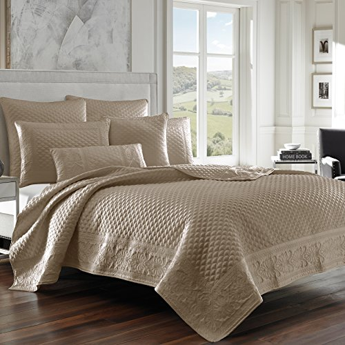 Five Queens Court Zarah Satin Damask Embroidered Coverlet Full/Queen, Taupe
