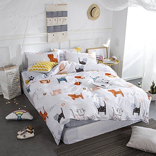 HighBuy Cats Print Girls Duvet Cover Sets Full Off White 100% Cotton Bedding Comforter Cover Christmas Gift for Children Kids Bedroom Bedding Sets Grey with Plaid Grid Pattern - Cat Geometric