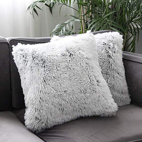 Uhomy Home Decorative Luxury Series Super Soft Faux Fur Throw Pillow Cover Cushion Case for Sofa Bed Chair Car Gray Ombre 18x18 Inch 45x45 cm, Single