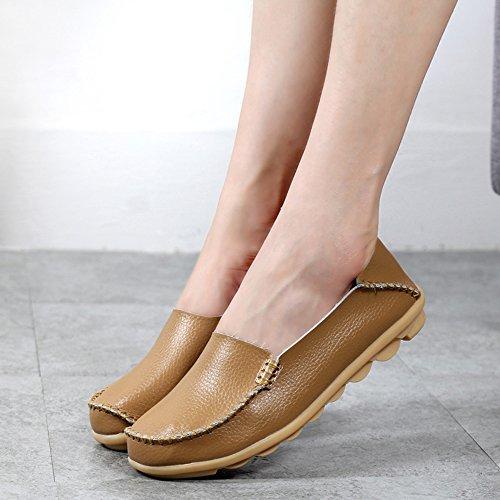 Casual Krankenschwester Mokassin Schuhe Gaatpot Leder flache Hausschuhe On Khaki Slip Schuhe Slipper Frauen Driving Schuhe 51A8Sqyw