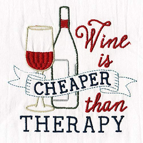 Aunt Martha's Dirty Laundry Wine is Cheaper Than Therapy Flour Sack Dish Towel