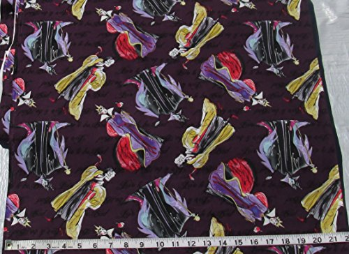 Cotton Fabric by the Yard - Disney - Villains - Love to be Bad - Female Villains on Purple Background -