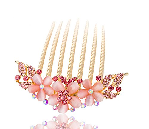 (FINGER LOVE France Luxury Pearl Rhinestone Floral 6 Tooth Vantage Handmade French Twist Comb (APink))