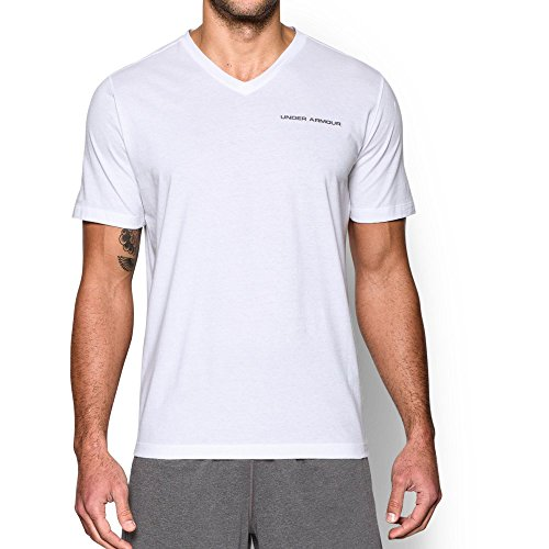 Under Armour Men's Charged Cotton V-Neck, White/Graphite, Large