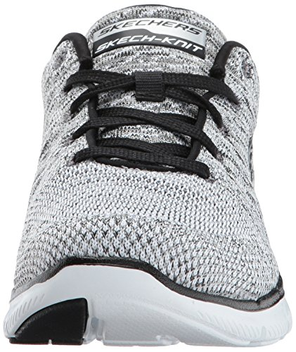 Skechers Flex Appeal 2.0 High Energy, Baskets Basses Femme White/Black Knit