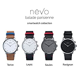 EMIE Nevo Balade Parisienne Urban Minimalist Analog Smart Watch with Stainless Steel Case, Genuine Leather Strap, Activity Tracker, Step Counter, Sleep Monitor & Mobile App (Android & iOS) (Lepic)