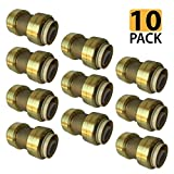 PROCURU 1/2-Inch PushFit Coupling - Push-to-Connect Plumbing Fitting for Copper, PEX, CPVC, Lead Free Certified (0.5 Inch (1/2''), 10-Pack)