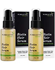 Biotin Hair Growth Serum Advanced Topical Formula To Help Grow Healthy, Strong Hair Suitable for Men and Women of All Hair Types Hair Loss Support By PUREAUTY naturals (Pack of 2)