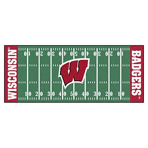 FANMATS NCAA University of Wisconsin Badgers Nylon Face Football Field (Wisconsin Badgers Mat)
