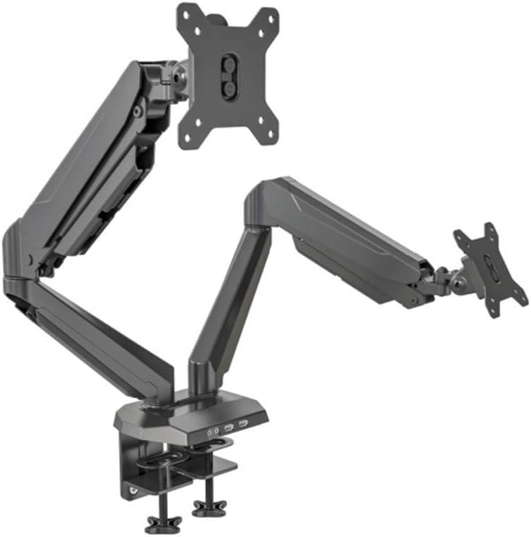SpassWay Soporte de monitor para 2 monitores con brazo articulado por gas, altura regulable, ergonómico, para pantallas LCD de 15 a 32 pulgadas, carga máxima de 9 kg, VESA 75/100