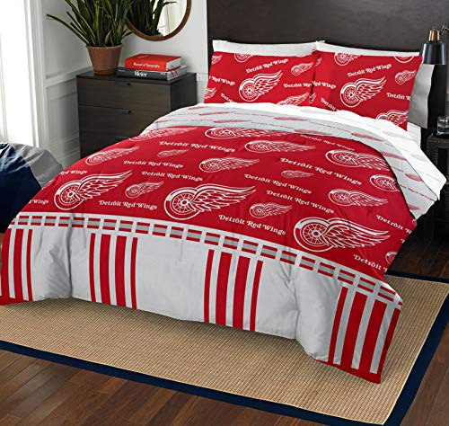 (The Northwest Company NHL Detroit Red Wings Full Bed in a Bag Complete Bedding Set)