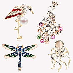 Women's 4 Pieces Rhinestone Animal Brooches