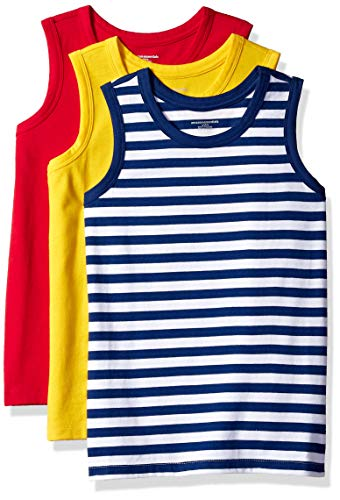 Amazon Essentials Little Boys' 3-Pack Tank, Freesia/Bright White/Blue Depths Even Stripe/Tango red, M ()