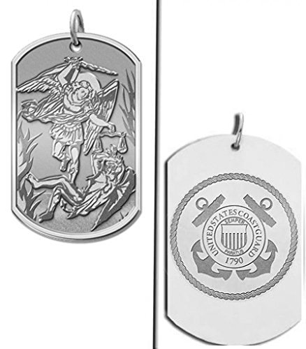 Saint Michael Doubledside COAST GUARD Dogtag Religious Medal 1 Inch X 1-3/4 Inch - Solid 14K White Gold