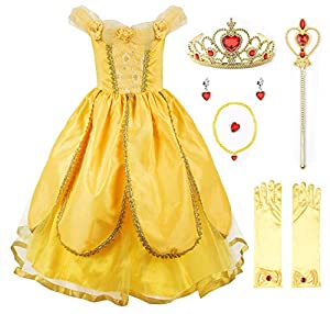 JerrisApparel Princess Belle Costume Deluxe Party Fancy Dress Up for Girls (4 Years, Yellow One with Accessories)
