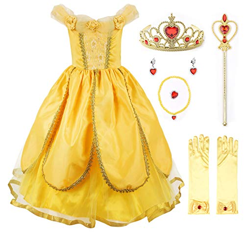 JerrisApparel Princess Belle Costume Deluxe Party Fancy Dress Up for Girls (6 Years, Yellow One with Accessories)