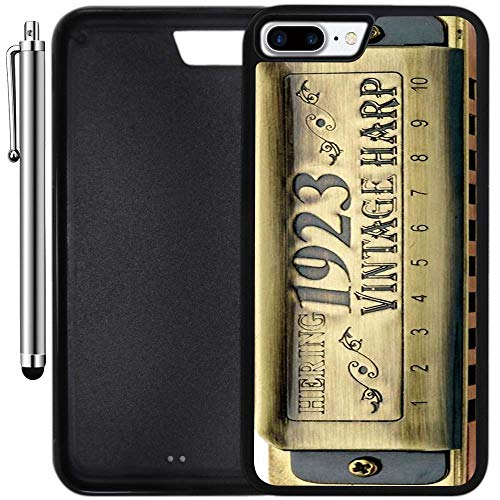 Custom Case Compatible with iPhone 8 Plus (5.5 inch) (Vintage Harp Harmonica) Edge-to-Edge Rubber Black Cover Ultra Slim | Lightweight | Includes Stylus Pen by Innosub ()
