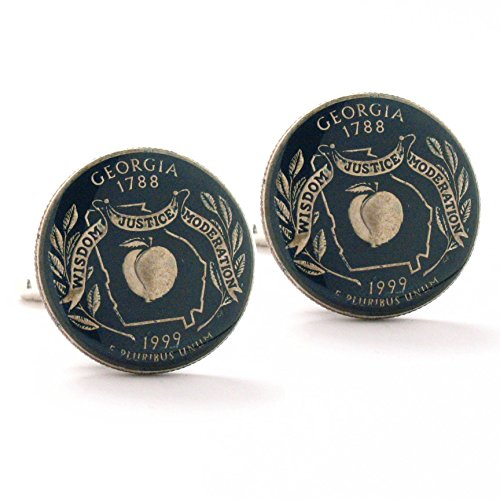 Georgia Quarter Cufflinks Suit Flag State Coin Jewelry USA US United States Police Atlanta Savannah South Dixie Southern Peach