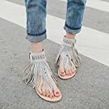 Hemlock Women Bohemia Flat Sandal Shoes Buckle Tassel Sandals (US:6, Grey)