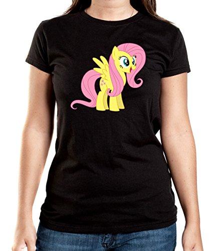 Fluttershy Pony T-Shirt Girls Black Certified Freak