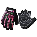 Cycling Gloves Fingless Gloves with Skeleton Zombie Design for Motocross Bike MTB (Pink-Half Finger, Large)