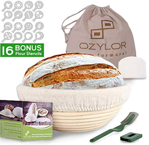 (10inch Banneton Proofing Basket Set - Complete Bakers Kit of Round Bread Basket with Liner, Dough Scraper, 16 Flour Stencils, Bread Liner, Storage Bag - Bread Lame for Artisan Bakers and Home Use)