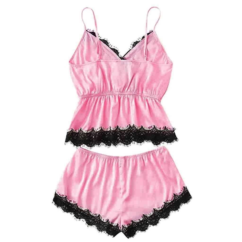 TIMEMEANS Pajama Set Girls Cute Lace Embroidered Silk Underwear and Shorts