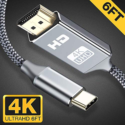 USB C to HDMI Cable(4K@60Hz),Highwings 6ft/1.8m Type C to HDMI Cable(Thunderbolt 3 Compatible)with Pad Pro/MacBook Air 2018,MacBook Pro,Mac mini 2018,Surface Book 2,Samsung S9/S8/S10 and More-Grey