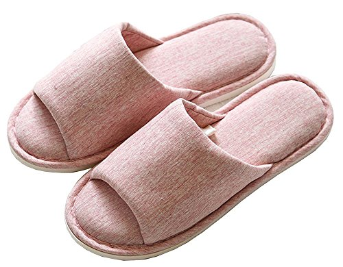 Asifn Indoor Home Slippers Memory Foam Men Women Cotton Cozy Massage Flax House Casual House (7.5 US Women/6 US Men, Pink) by Asifn