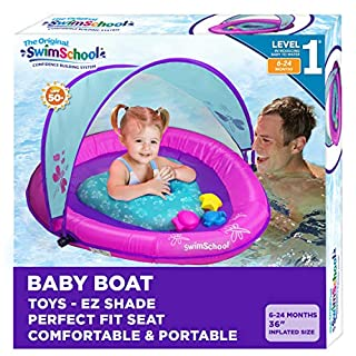 SwimSchool Splash & Play Baby Pool Float with Canopy, 3 Activity Play Toys, Dual Air Pillow Chambers and Adjustable Safety Seat, Baby Float, 6 - 24 Months, Berry/Pink