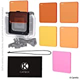 Diving Filter Kit for GoPro Hero 6 5 Black - 5 Filters (3x Red - 1x Magenta - 1x Yellow) - For use with waterproof housing (Super Suit)