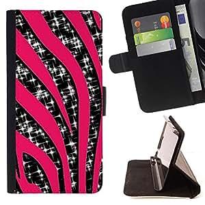 - Zebra Stripes Pink Glitter Sparkling Stars - - Prima caja de la PU billetera de cuero con ranuras para tarjetas, efectivo desmontable correa para l Funny HouseFOR Apple Iphone 5 / 5S