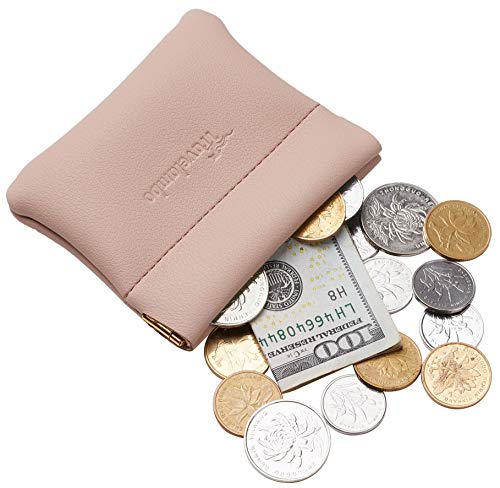 Travelambo Genuine Leather Squeeze Coin Purse Pouch Change Holder For Men & Women (Access Pink Champagne)