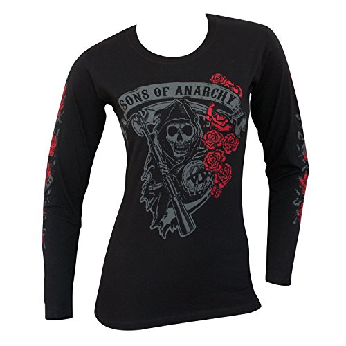 Sons Of Anarchy Reaper Roses Long Sleeve Juniors Tee Shirt X-Large Black (Juniors Sons Anarchy Shirt Of)