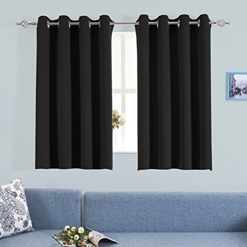 Metal Polyester Thread (Grommet Blackout Curtains for Bedroom - Aquazolax Premium Thermal Insulated Blackout Drapery Solid Curtain Panels for Nursery, 1 Pair, 54