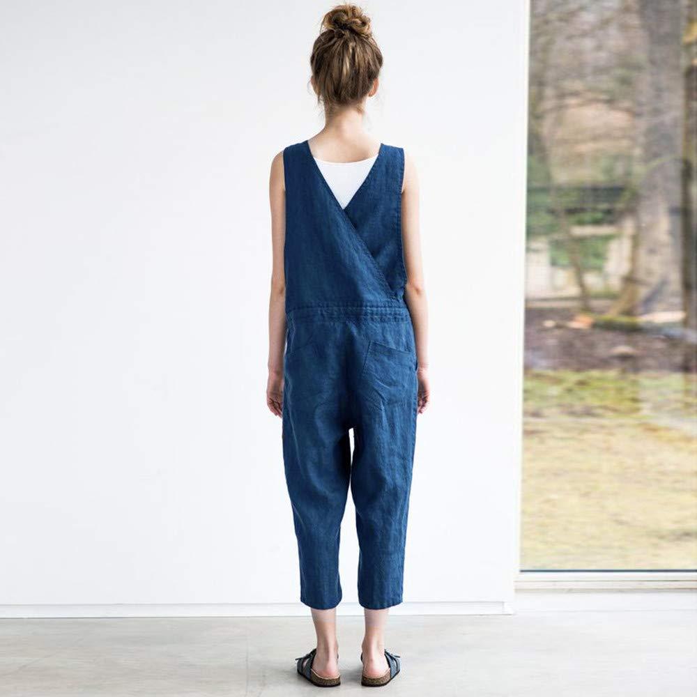 3b0327606a5eb6 Amazon.com: SNOWSONG Women Casual Jumpsuits Overalls Baggy Bib Pants Loose  Jeans Plus Size Wide Leg Rompers Denim Harem Pants Jumpsuit: Clothing