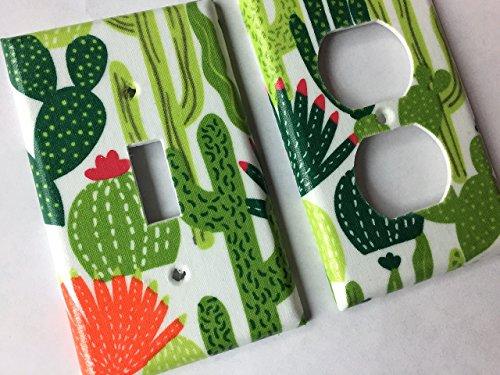 Green Succulent And Cactus Light Switch Plate Cover - Various Sizes Offered (Switch Cactus Cover)