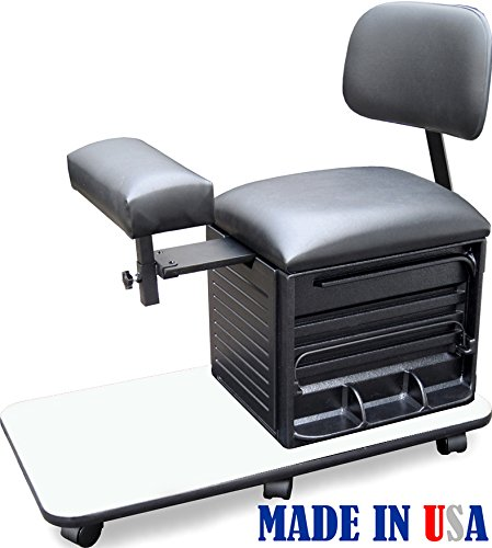 2318-WHT Salon Spa Pedicure Station Stool with Footrest & Back Support by Dina Meri by Dina Meri