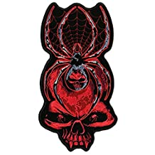 """Hot Leathers, BLACK WIDOW SKULL BIKER, Iron-On / Saw-On Rayon PATCH - 2"""" x 5"""", Exceptional Quality"""