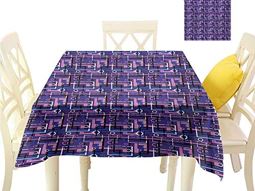 familytaste Outdoor tablecloths Geometric,Tangled Overlapping Different Shapes Circles Abstract Vibrant Colored Labyrinth,Multicolor 3D Dital Printing Covers W 54