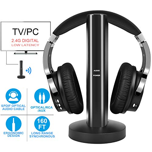 Wireless TV Headphones with 2.4G Digital RF Transmitter, Hi-Fi Over-Ear Cordless Headset with RCA / 3.5MM / Optical Port, for Watching Home TV Game Computer ()
