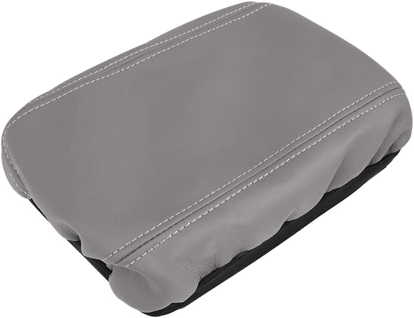 X AUTOHAUX Microfiber Leather Center Console Lid Armrest Cover Skin Gray for 2006-2011 Honda Civic