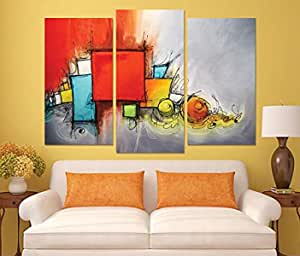 abstract Wooden Tableau, 145X145 Cm - Set Of 3 Pieces
